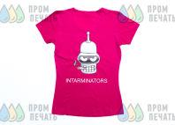 Розовые женские футболки с изображением «INTARMINATORS»
