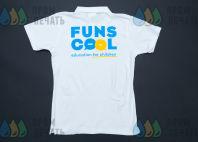 Белые футболки-поло с логотипом «FUNSCOOL»