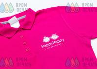 Розовые футболки-поло с логотипом «HappyNappy»