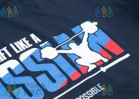 Черные футболки с надписью «lift like a RUSSIAN»