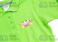 Салатовые футболки-поло с логотипом «КИНДЕР»