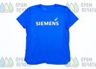 Голубые футболки с логотипом «SIEMENS»