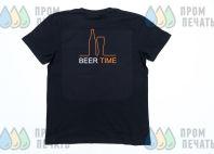 Черные футболки с логотипом «BEER TIME»