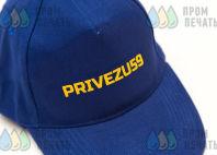 Синие бейсболки с надписью «PRIVEZU59»