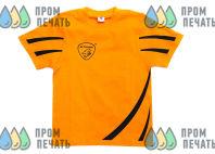 Оранжевые детские футболки с черными полосами и принтом «ELTRANS»