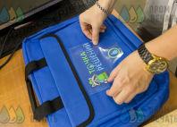 Синие конференц-сумки с логотипом «ТОЧКА инженерных РЕШЕНИЙ»