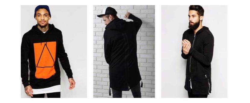 Фото парней в черных удлиненных толстовках с яркими акцентами