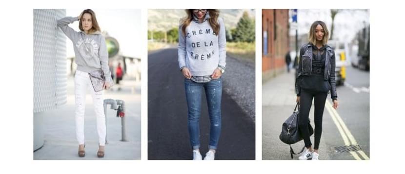 Фото девушек в модных толстовках с надписями