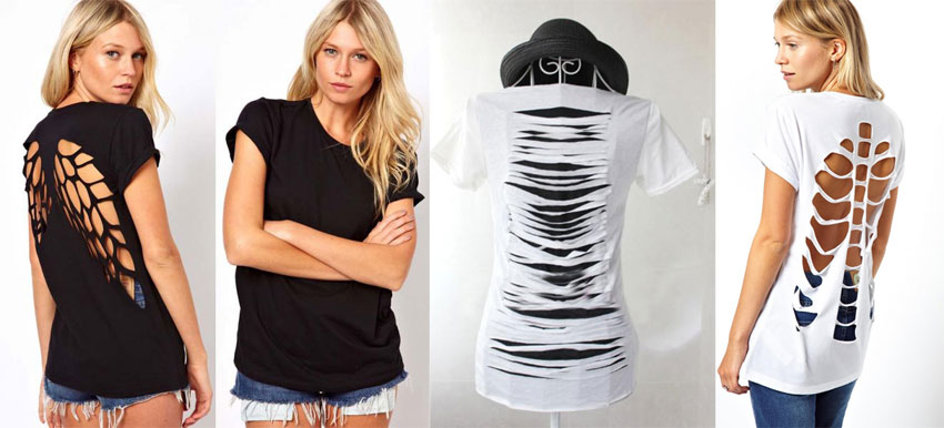Фото девушек в модных футболках 2019 со рваными элементами