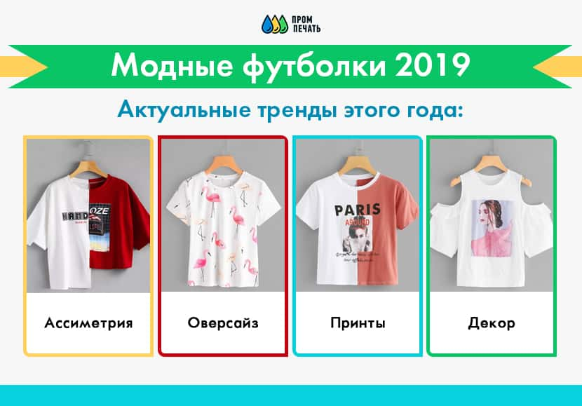 Фото модных футболок 2019
