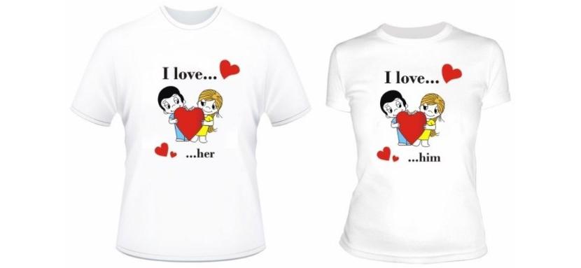 Фото белых парных прикольных футболок с сюжетом: «Любовь - это…»