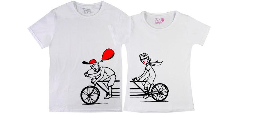 Фото прикольных парных футболок с влюбленными на велосипеде