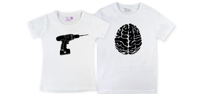 Фото белых прикольных парных футболок изображением мозга и дрели