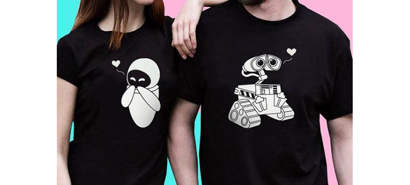 Фото прикольных черных парных футболок с роботами Волли и Евой
