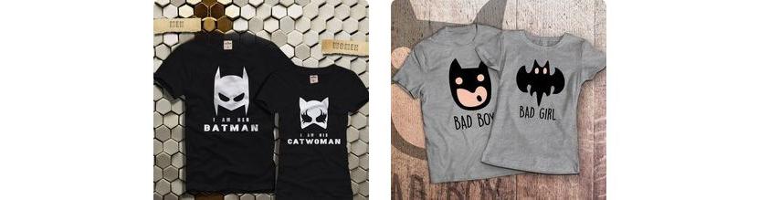 Фото парных прикольных футболок с Бэтменом и женщиной-кошкой