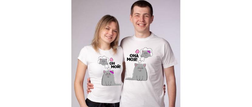 Фото прикольных парных футболок с котами