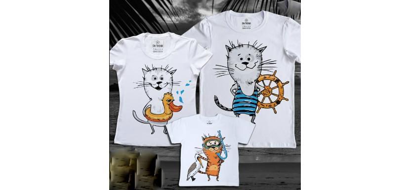 Фото парных прикольных футболок с котами в отпуске