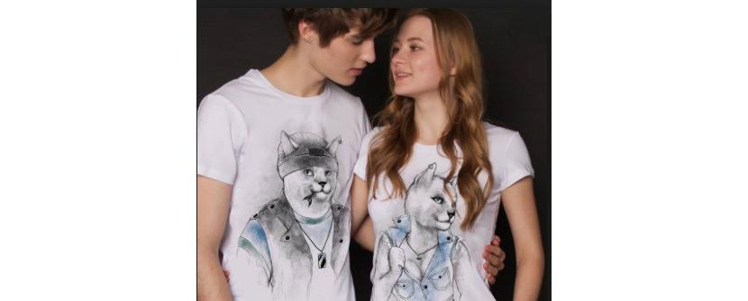 Фото белых парных прикольных футболок с котом и кошкой