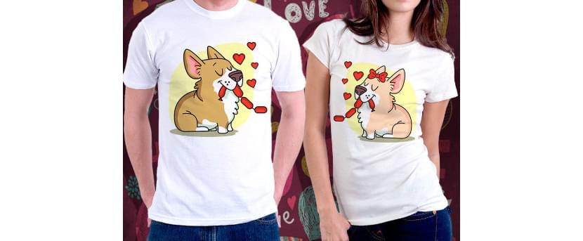 Фото парных прикольных футболок с собаками, которые едят сосиски