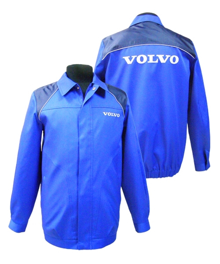 фото синих курток для рабочих автосервисов с логотипом «Volvo»