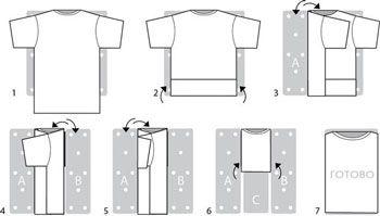 Фото инструкция классического способа складывания футболки за секунду