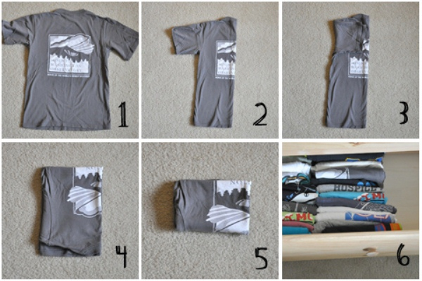 Фото-инструкция быстрого способа складывания футболки