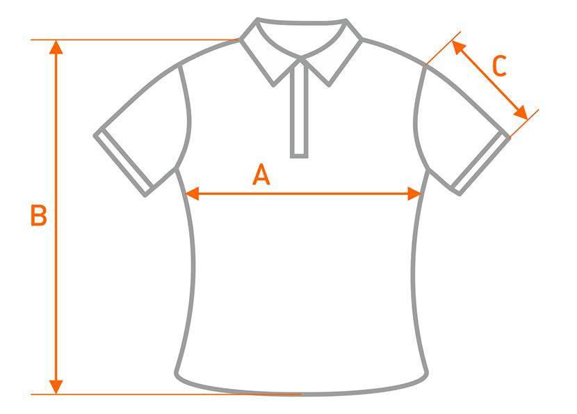 Фото определения размера мужской рубашки поло