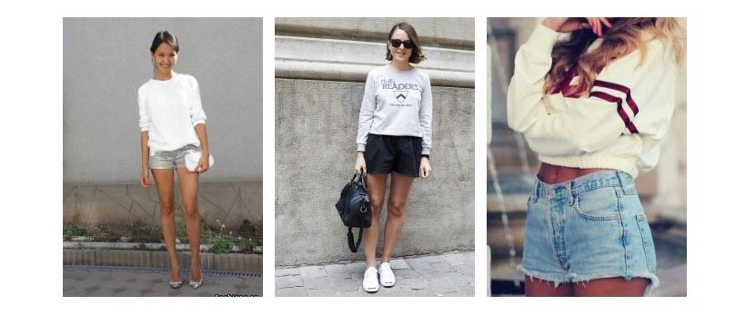 Фото девушек в белых толстовках и шортах в обуви на разном ходу