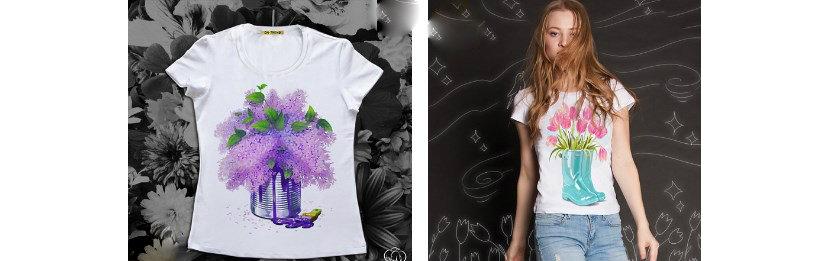 Фото девушки в футболке с акварельными цветами