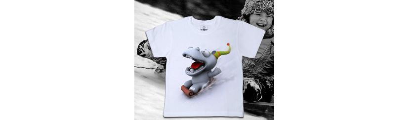 Фото футболки с изображением веселого бегемота