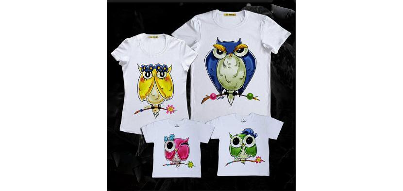 Фото футболок с красивыми рисунками сов для всей семьи