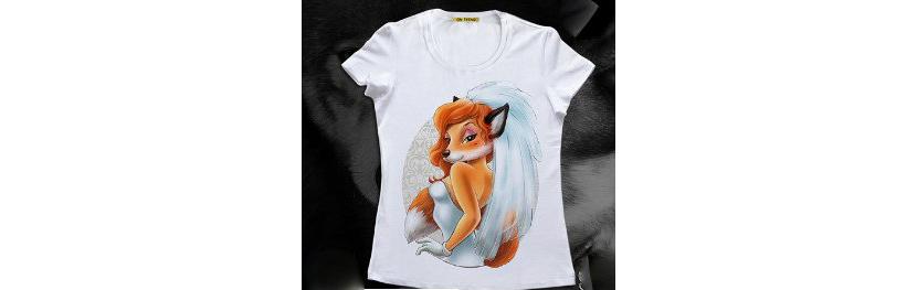 Фото футболки с необычным изображением лисы в фате для невесты