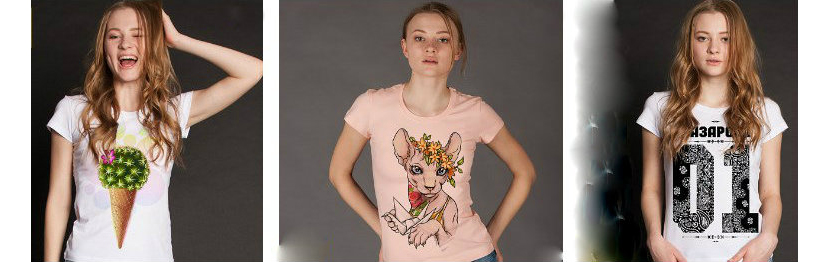Фото девушек в футболках с яркими принтами