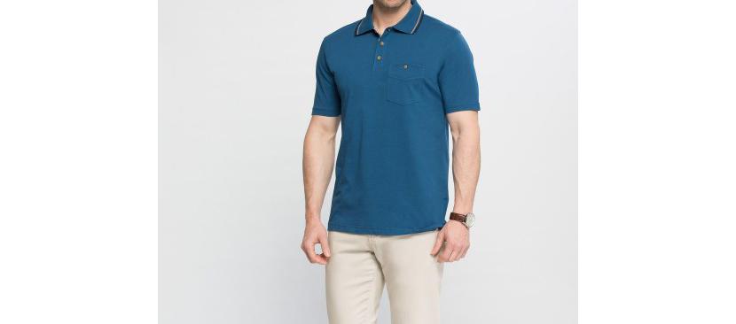 Фото мужчины в классической футболке поло цвета морской волны