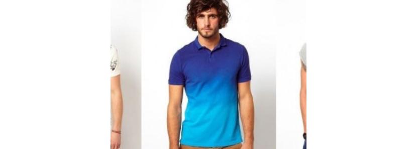 Фото парня в модной футболке поло с переходом цвета омбре