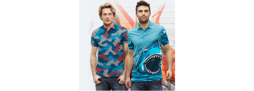 Фото парней в футболках поло с креативным принтом