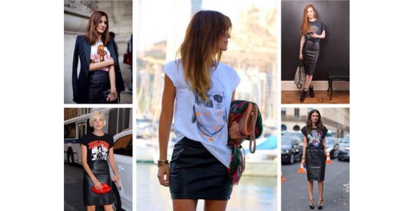 Фото девушек в модных футболках с кожаными юбками