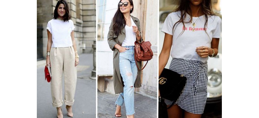 Фото девушек в модных белых футболках