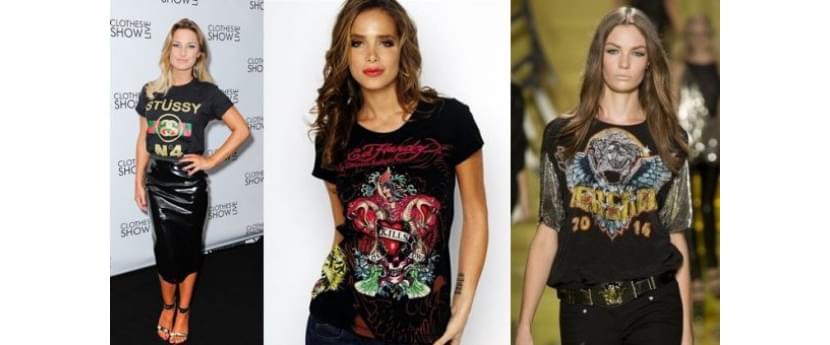 Фото девушек в модных футболках с принтами