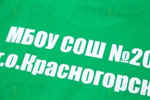 Футболки с надписью «МБОУ СОШ №20»