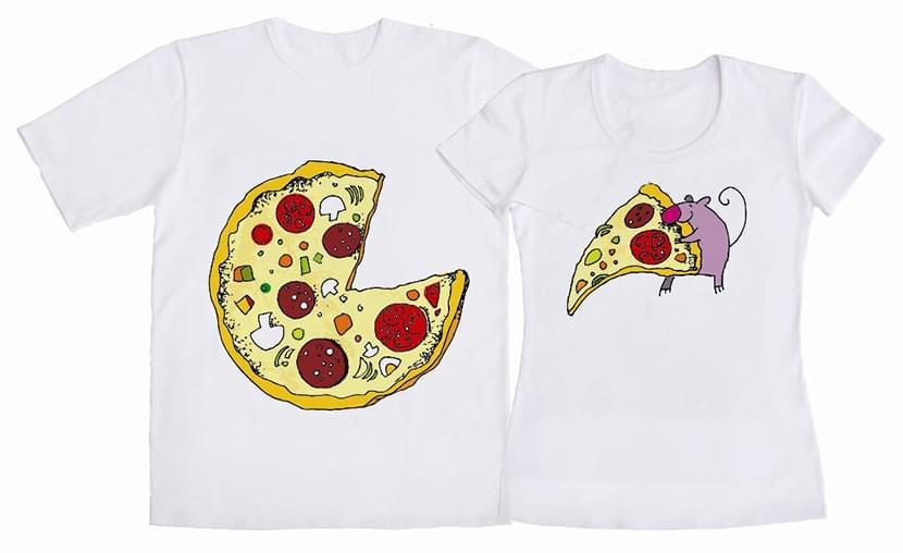 Парный принт на двух однотонных футболках