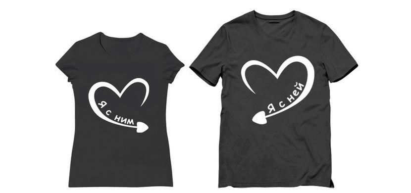 Изображение парных рисунков на двух футболках